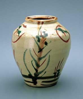 濱田庄司 琉球窯赤絵花瓶 (沖縄) 益子参考館蔵