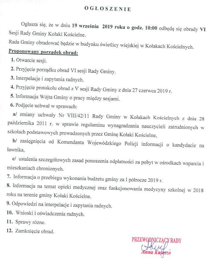 Ogłoszenie o obradach VI Sesji Rady Gminy Kołaki Kościelne
