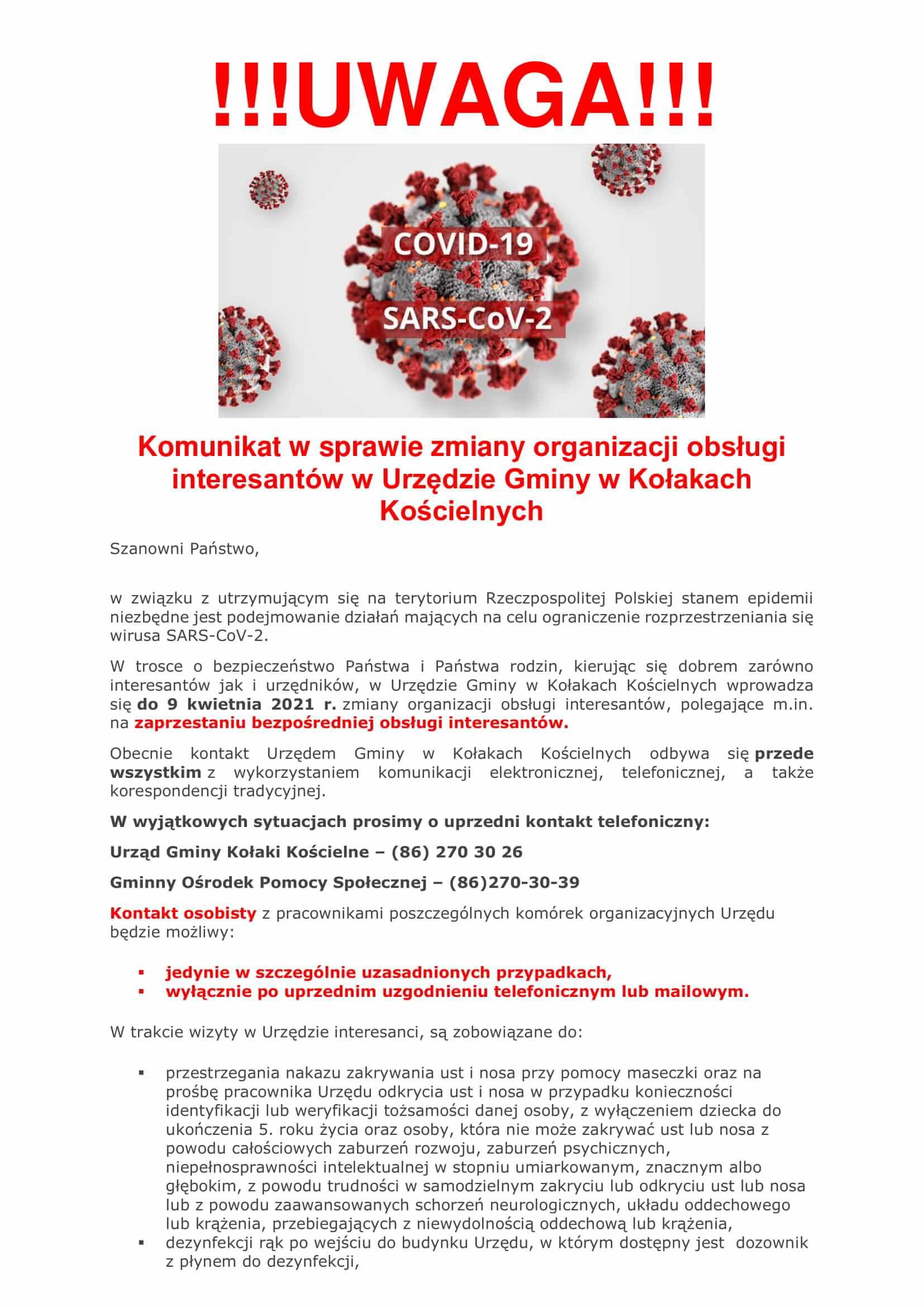 Komunikat w sprawie zmiany organizacji obsługi interesantów w Urzędzie Gminy w Kołakach Kościelnych