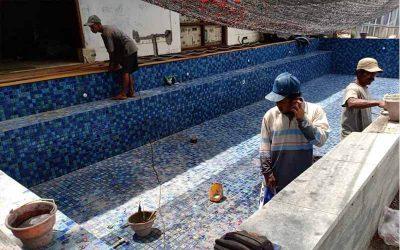 pemasangan keramik mosaic