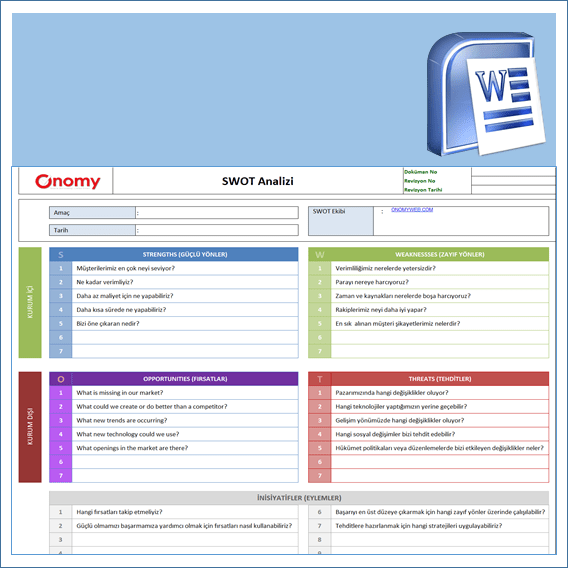 SWOT Analizi Excel Şablonu