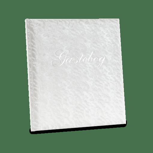 """Goldbuch Classic gæstebog med marmoreret omslag og sølvteksten """"Gæstebog"""" påtrykt på forsiden. (GB48355) © Billedet er beskyttet af ophavsret og må kun bruges af Koldsø Fotografi."""