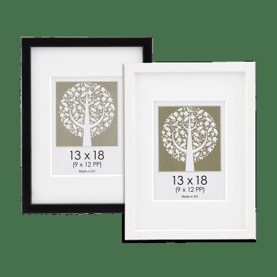 Kvadrat træramme med passepartout til budgetvenlige hjem, fås i sort eller hvid | Koldsø Fotografi Webshop