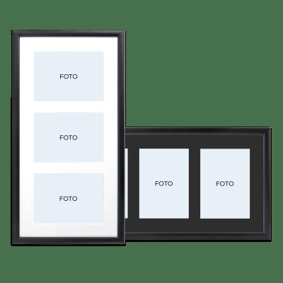 Flot sort collageramme med sort eller hvidt passepartout - fås til forskelligt antal billede (3163 Classic) | Koldsø Fotografi Webshop
