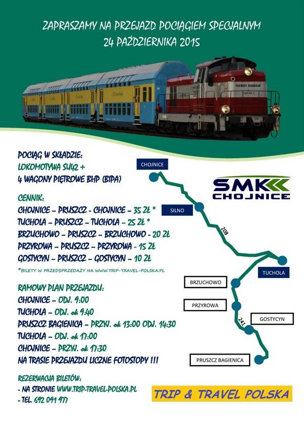 Zapowiedź przejazdu Chojnice - Pruszcz Bagienica