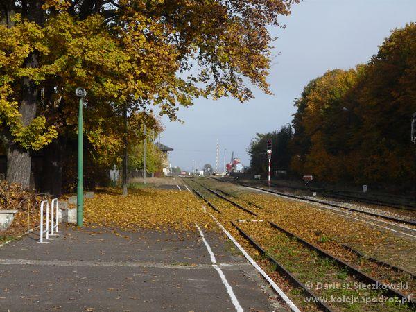 Głogówek - stacja kolejowa - widok na przejazd przy ul. Dworcowej