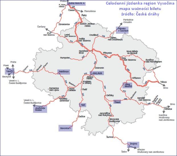 Celodenní jízdenka region Vysočina