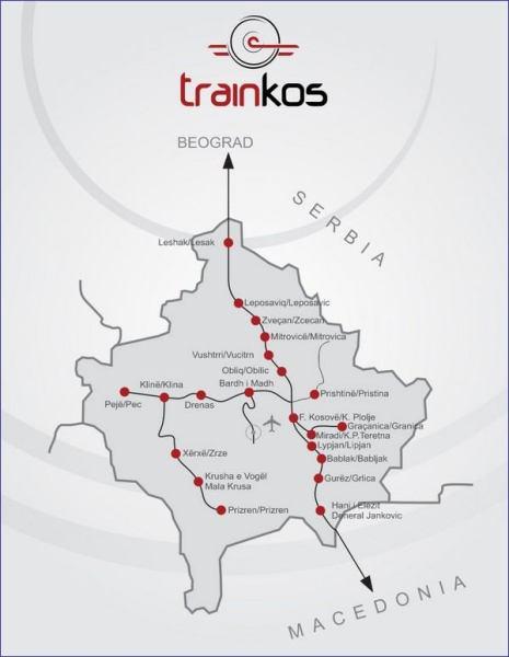 Kosowo mapa kolejowa