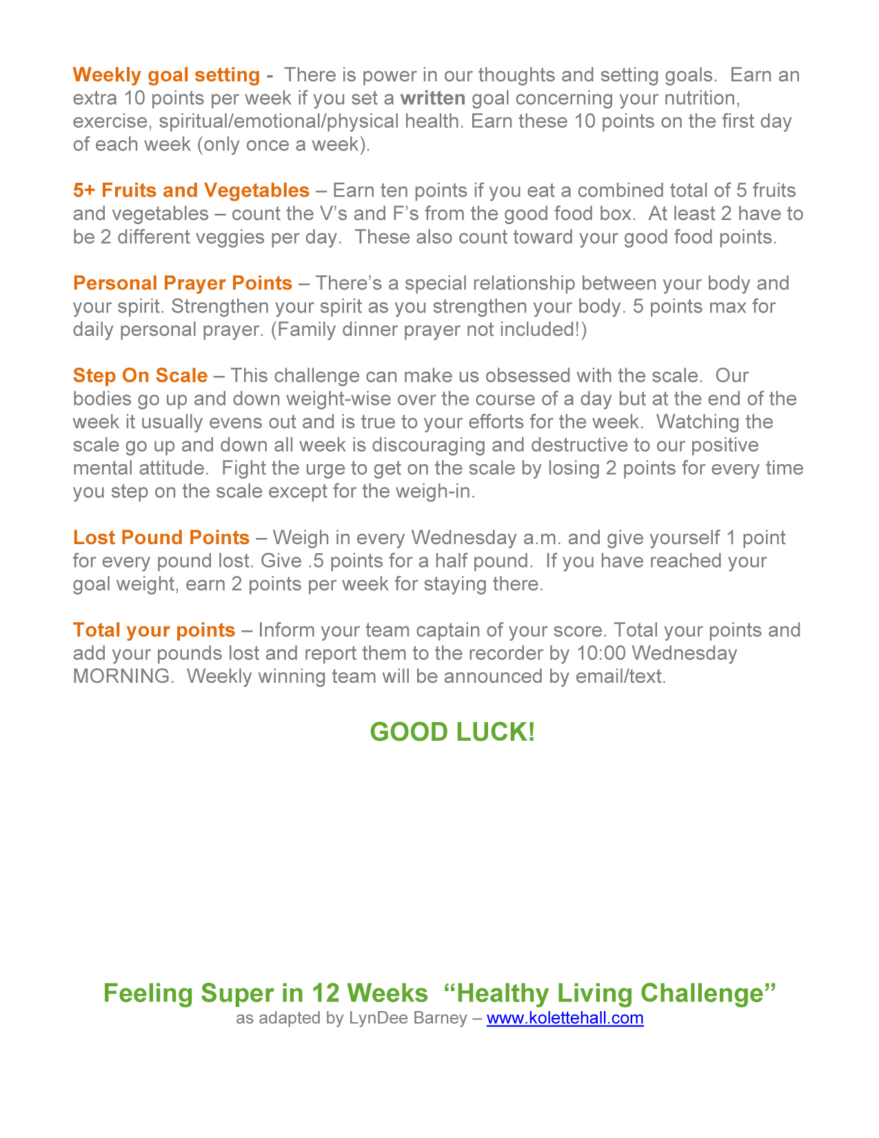 Healthy Living Challenge How It Works