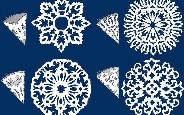 Новорічні сніжинки витинанки — схеми та шаблони (50 фото-ідей)