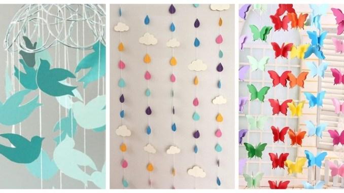 Просто та оригінально: паперові підвіски в дитячу кімнату чи садок (40 фото)
