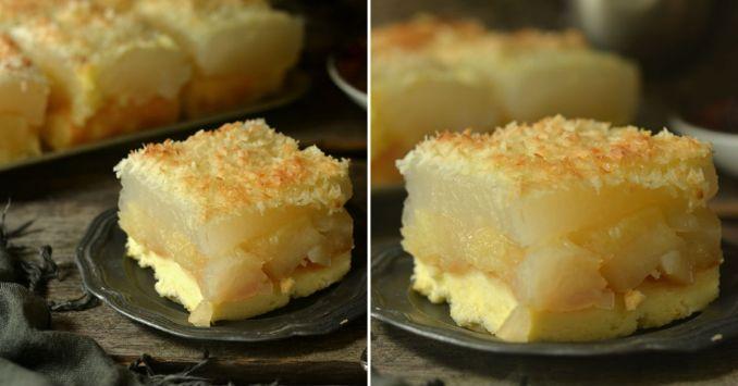 Бісквітний яблучний пиріг з кокосом — ніжний і ароматний десерт під рум'яною скоринкою