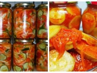 Салати на зиму — 16 простих і дуже смачних рецептів салатів (з кабачків, огірків, баклажанів, помідорів, перцю)