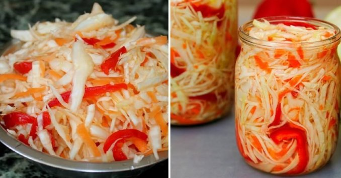 "Салат ""Капуста з болгарським перцем на зиму"" — смачний рецепт маринованої капусти. Чудова закуска!"
