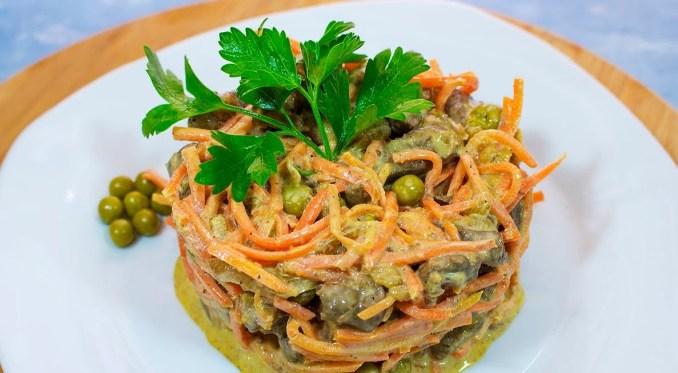Ніжний салат з печінкою і морквою по-корейськи! Святкова страва за 10 хвилин
