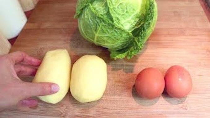 1 капуста, 2 картоплі та яйця — простий, смачний та дешевий рецепт на обід або вечерю!