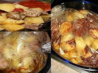Картопля з м'ясом, запечена в рукаві