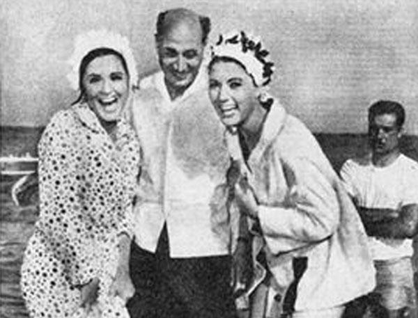 سعاد وشمس الباردوي مع المخرج هنري بركات