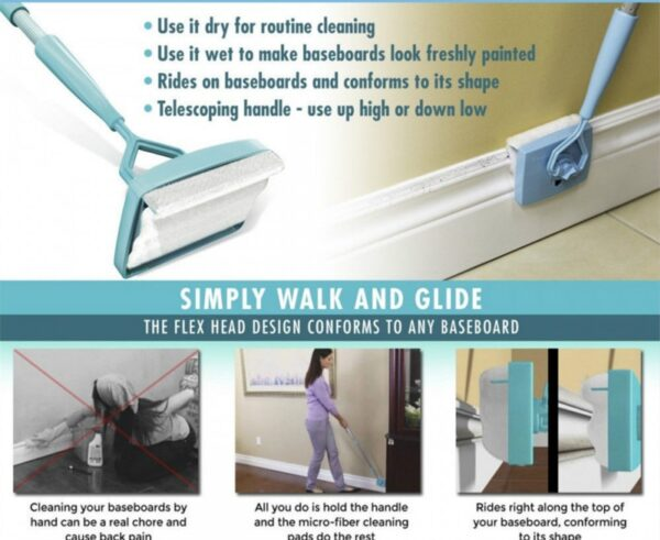 ADJUSTABLE BASEBOARD CLEANER – MAKES CLEANING A WHOLE LOT EASIER!
