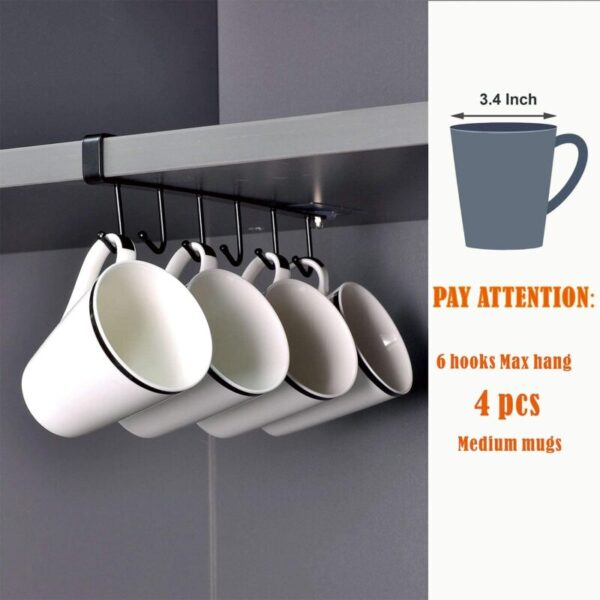 Mug Holder for Kitchen, Fit for 1 Inch Thickness Shelf