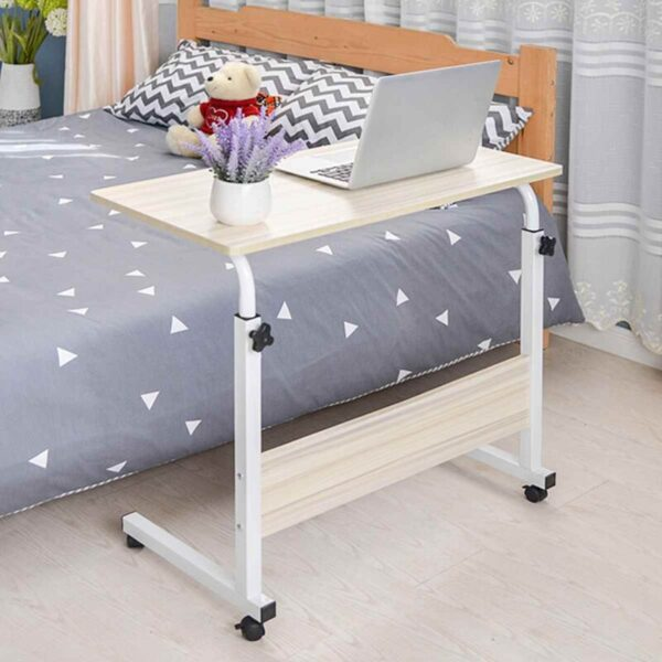 Medacure Bedside Table with Wheels – Overbed Table Hospital Bed – Home, Food, Laptop, Reading – Adjustable Height
