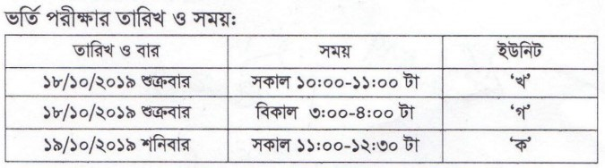 Barisal University Admission Text Date