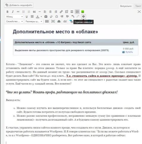 рабочее окно wordpress