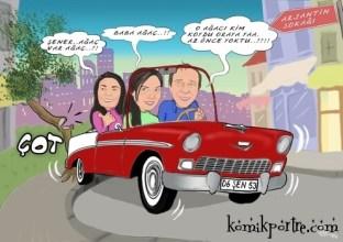 Aile-tablosu-karikatur-hediye-Bahar