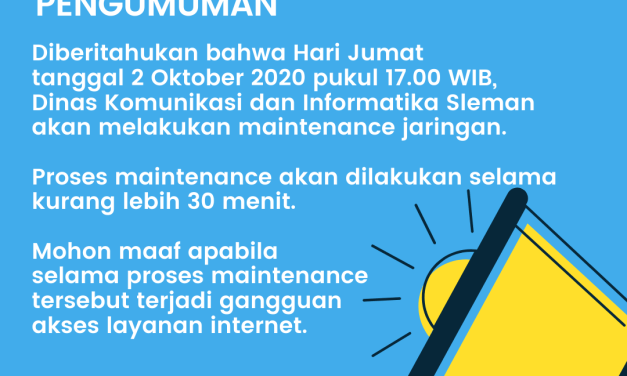 Maintenance Jaringan Internet 2 Oktober 2020