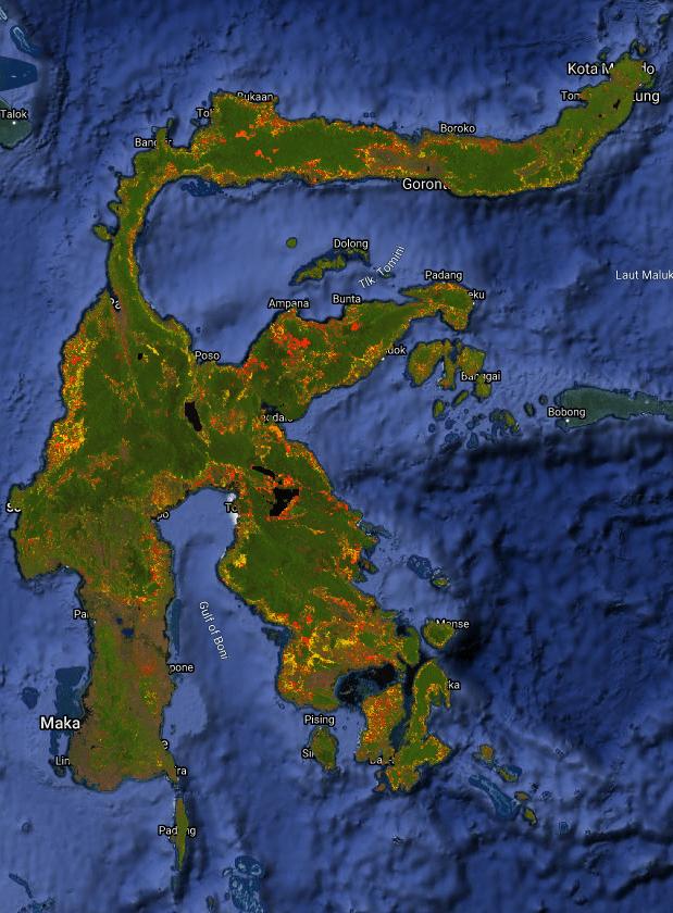 Peta Deferostasi Pulau Sulawesi