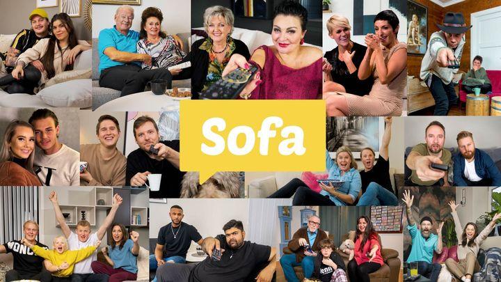 Deltagerne i «Sofa» på TV 2. Foto: TV 2 (Montasje)