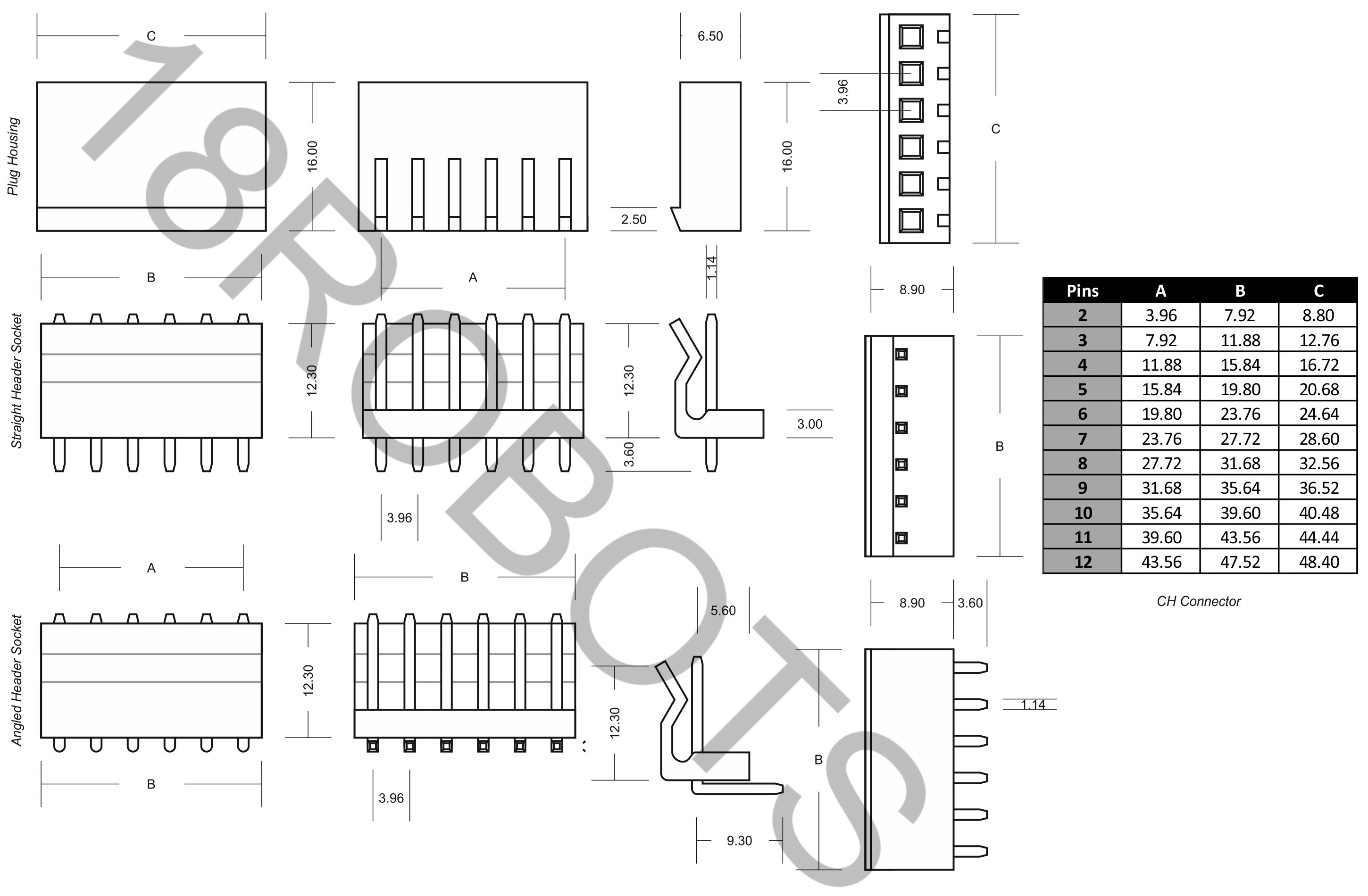 Ch 3 96mm Connector Sets 2 12 Pin Housing Header
