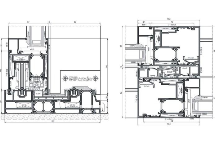 схема алюминиевой конструкции SLIDING 1600tt