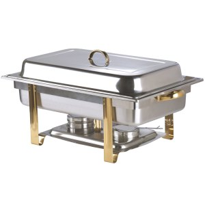Deluxe 8 Qt. Full Size Gold Accent Chafer