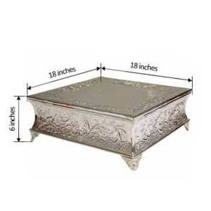 "18"" Square Embossed Metal Cake Stand"