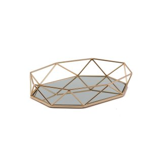 14″ x 9″ Gold Octagon Mirrored Vanity Tray