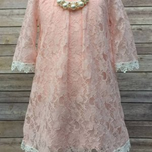 Blush Floral Lace Dress With Pearl Necklace