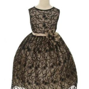 Black/Champagne Satin Lining and Floral overlay Lace Dress