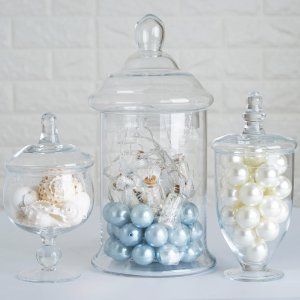 Set of 3 Apothecary Glass Candy Jars With Lids – 8″/10″/13″