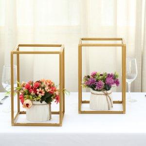 "2 Pack | 12"" Rectangular Gold Metal Wedding Flower Stand"
