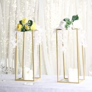 "2 Pack | 24"" Rectangular Gold Metal Wedding Flower Stand"