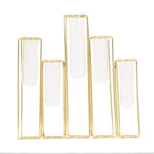 12″ Hinged Geometric Metal Flower Vase Rack