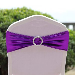 Metallic Spandex Chair Sash With Attached Round Diamond Buckle