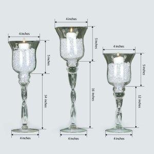 Set of 3 | Hurricane Long Stem Glass Vase Candle Holder Set – 16″/14″/12″