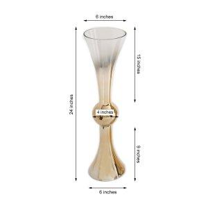 24″ Chrome Gold Ombre Glass Reversible Vase