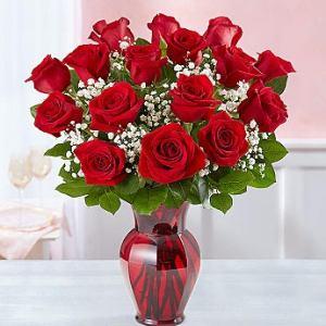 16 Red Rose Sympathy Arrangement