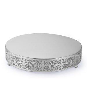 12″ Round Fleur De Lis Metal Cake Stand