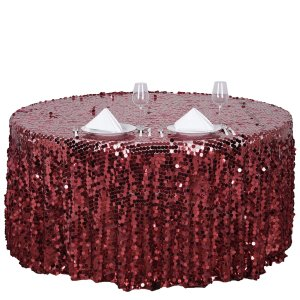 120″ Big Payette Sequin Round Tablecloth
