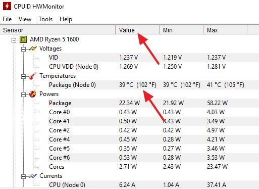 Тұхушыдағы қазіргі CPU температурасы