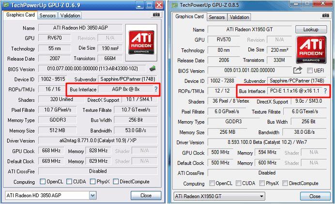 AGP และ PCI Express ใน GPU-Z